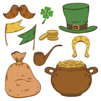 Creative drawn st. patrick's day elements pack