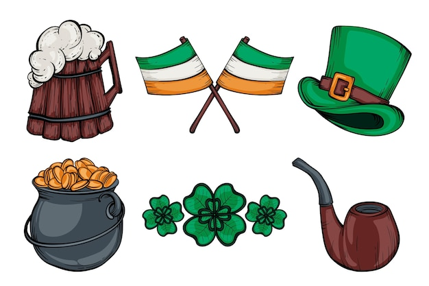 Creative drawn st. patrick's day elements