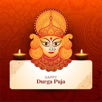 Creative durga puja festival card background illustration