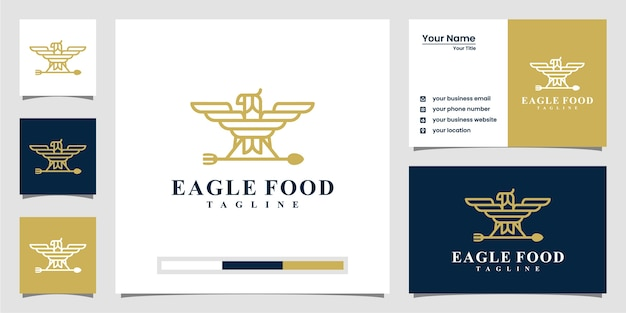 Creative eagle food logo inspiration. with line art style and business card