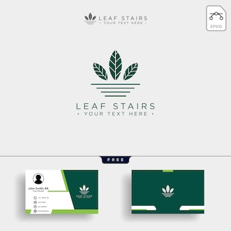 Creative eco logo with green leafs and stairs