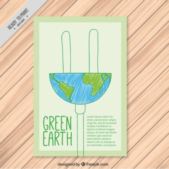 Creative ecological flyer with world plug shaped