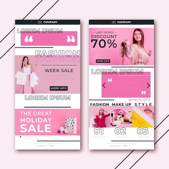 Creative ecommerce email template with photos pack