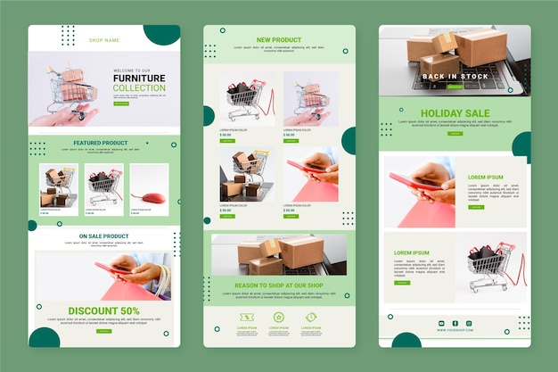 Creative ecommerce email template with photos