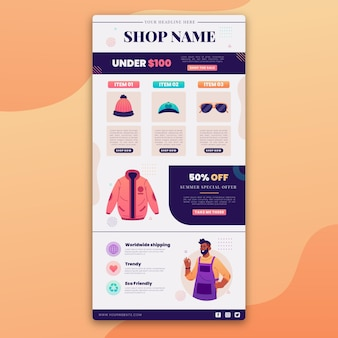 Creative ecommerce email with illustrations