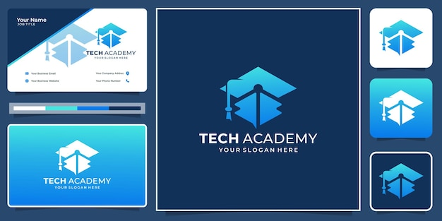 Creative education academy hat logo with creative technology concept shape. logo and business card.