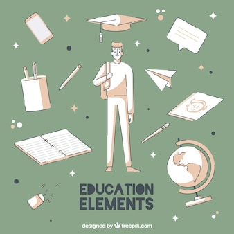 Creative education background with elements