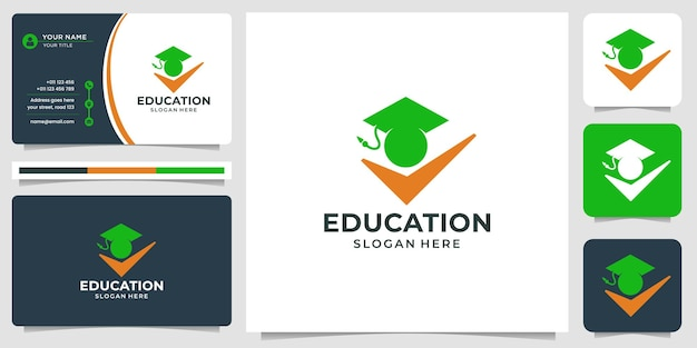 Creative education people logo and hand success design with business card template.
