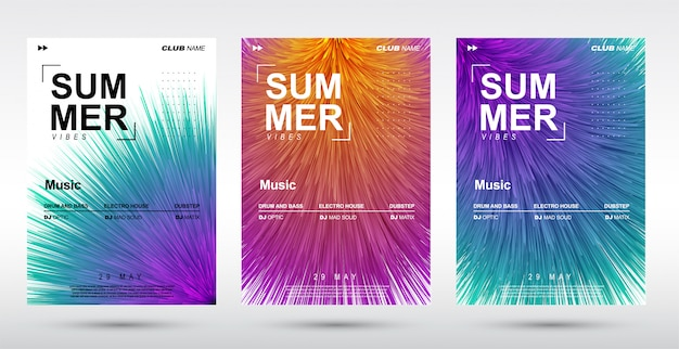 Creative electronic music fest and electro summer poster.