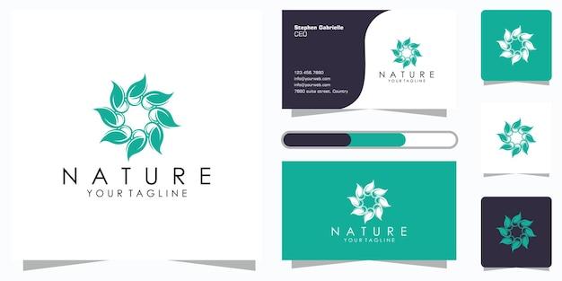創造的なエレガントな花の葉の要素のロゴと名刺。美容、化粧品、ヨガ、スパのロゴ