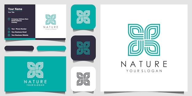葉要素のロゴデザインと名刺を持つ創造的なエレガントなフローラルローズ。美容、化粧品、ヨガ、スパのロゴ。