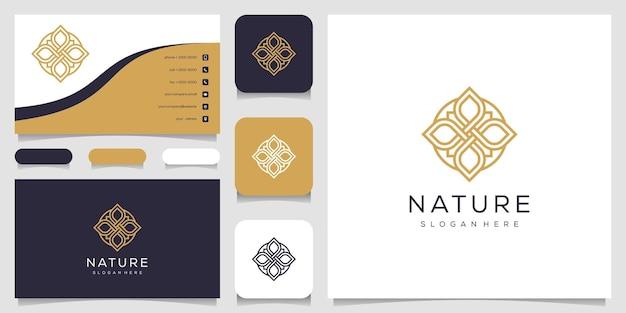 葉の要素のロゴのデザインと名刺とクリエイティブでエレガントなフローラルローズ。