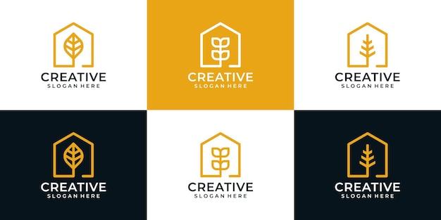 Креативный элегантный дом со значком пакета с логотипом в виде листа