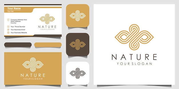 ラインアートスタイルのロゴと名刺を持つ創造的なエレガントな葉と油の要素。美容、化粧品、ヨガ、スパのロゴ。