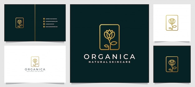 Creative elegant leaf and flower rose logo design for beauty with simple business card