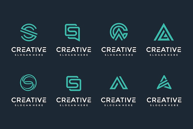 Creative and elegant letter logo icon set for luxury business