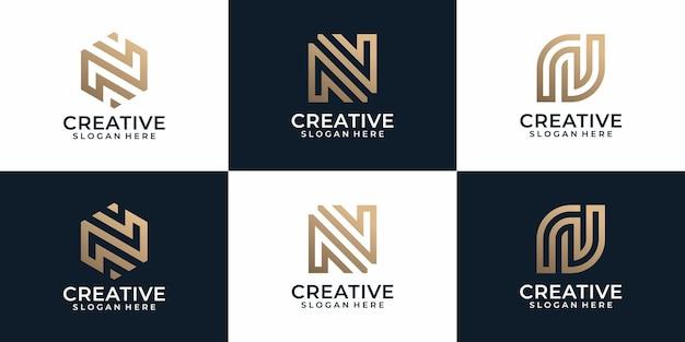 Креативная элегантная роскошная коллекция дизайна логотипа буква n