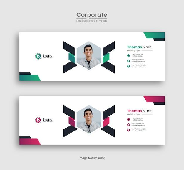 Creative email signature template design premium vector