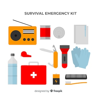 Creative emergency survival kit in flat design