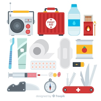 Creative emergency survival kit in flat design