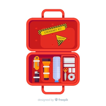 Creative emergency survival kit in flat style