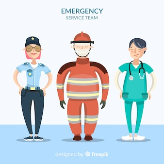 Creative emergency team in flat design