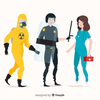 Creative emergency team in flat style