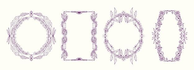 Креативная гравюра рисованная рамка в стиле бохо