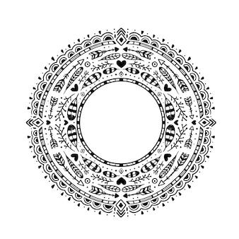 Cornice boho disegnata a mano con incisione creativa