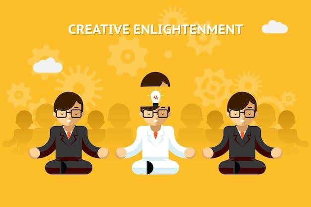 창조적 인 깨달음. 비즈니스 전문가 창의적인 아이디어 개념. 리더십과 전문성, 감성. 벡터 일러스트 레이 션