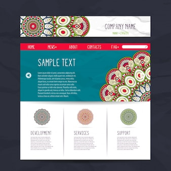 Creative ethnic stationery collection with mandala