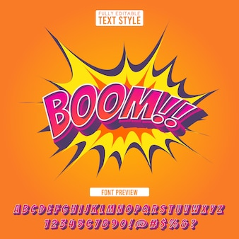 Creative explosion comic font 3d style effect cartoon pop art letters alphabet text for illustration and banner