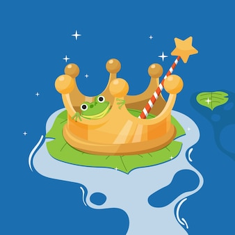 Creative fairy tale illustration of frog