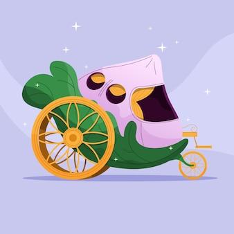 Творческая сказочная иллюстрация принцессы в коляске