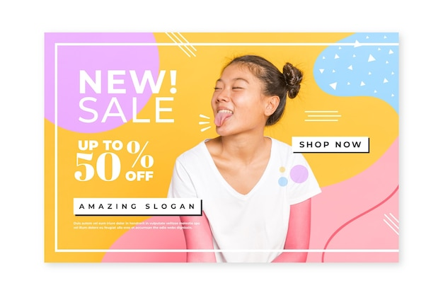 Creative fashion sale home page template with photo