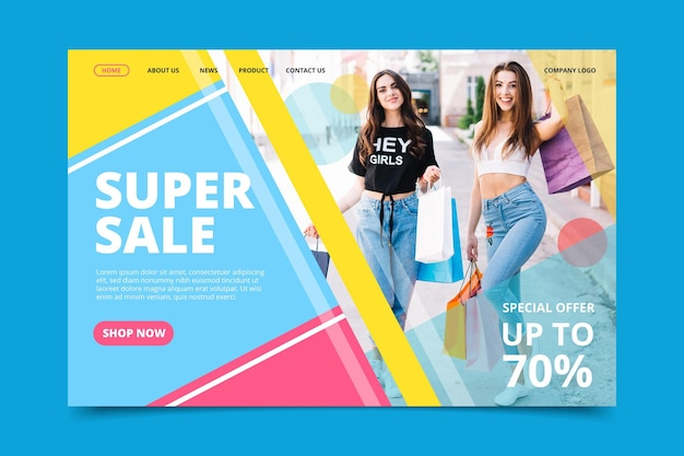 Creative fashion sale landing page template with photo