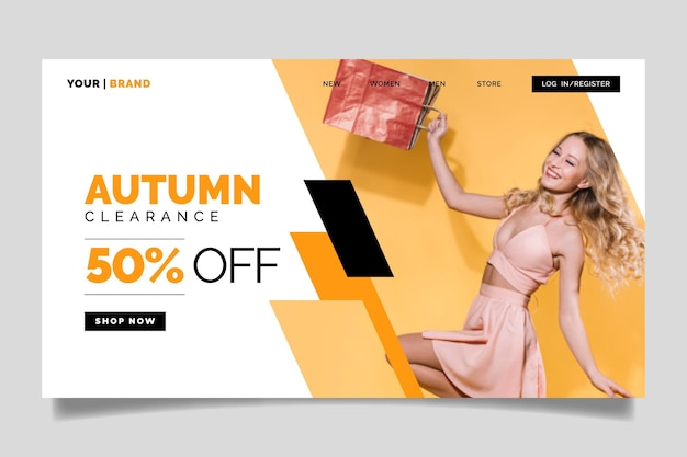 Creative fashion sale landing page with photo