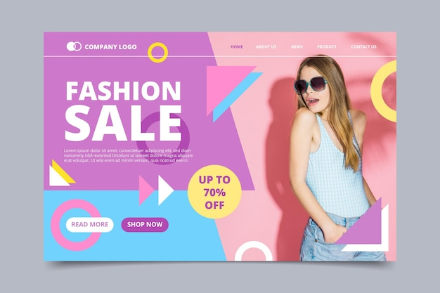 Creative fashion sale landing page