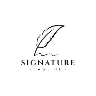 Креативный шаблон дизайна логотипа перо