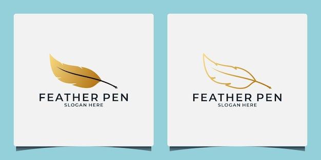 황금색 세트 라인 아트와 플랫 스타일을 사용한 창의적인 깃털 로고 디자인