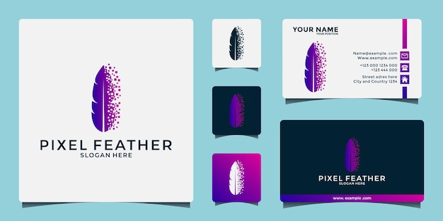 Creative feather tech logo design template for your business