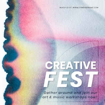 Creative fest colorful template vector in chromatography art social media ad Free Vector