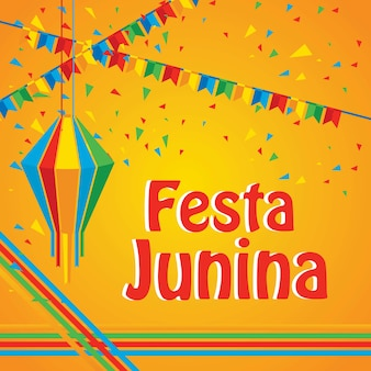 Шаблон дизайна плаката для фестиваля festa junina