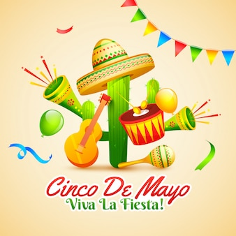 Creative fiesta party flyer design with illustration of guitar,