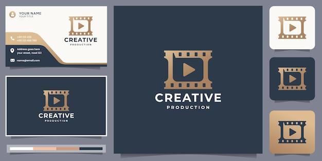 クリエイティブな映画製作プレイのロゴと名刺のデザイン。モダンなスタイル、クリエイティブなコンセプト、インスピレーション。