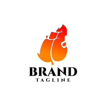 Creative fire leaf logo good for any industries related to fire or mineral