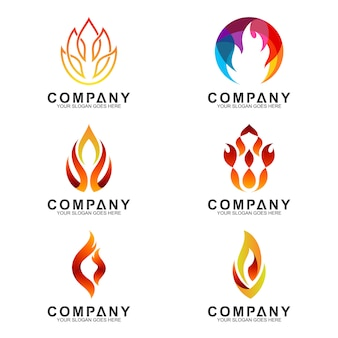 Creative fire logotype collection