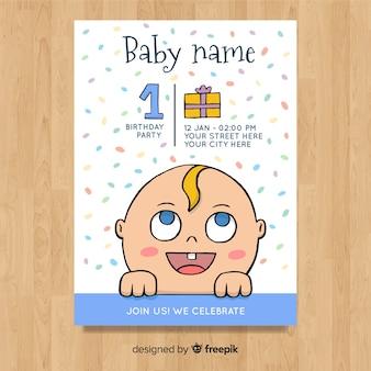 Creative first birthday card template