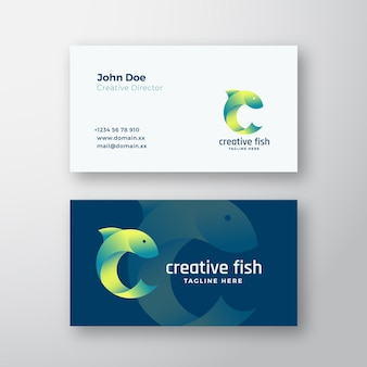 Creative fish abstract vector logo and business card template