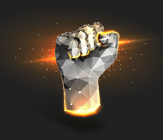Creative fist, polygonal mesh